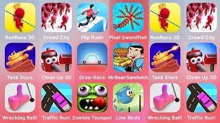 Run Race 3D, Crowd City, Flip Rush, Pixel Sword Fish, Tank Stars, Clean Up 3D. Draw Race, Mr Bean