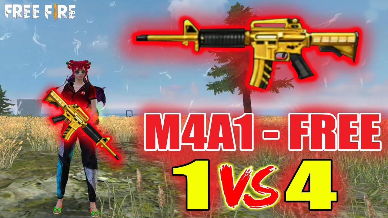 Gà Rán Sẽ Tặng FREE 100% Skin M4A1 Vàng Ròng, Vác M4A1 Solo Rank Squad   Free Fire