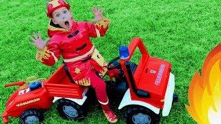 Child Superhero Fireman Vania comes to help little girl Mania