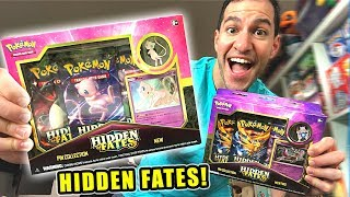 *HIDDEN FATES POKEMON CARDS ARE HERE!* Opening NEW Mew and Mewtwo SHINY GX Pin Collection Boxes!