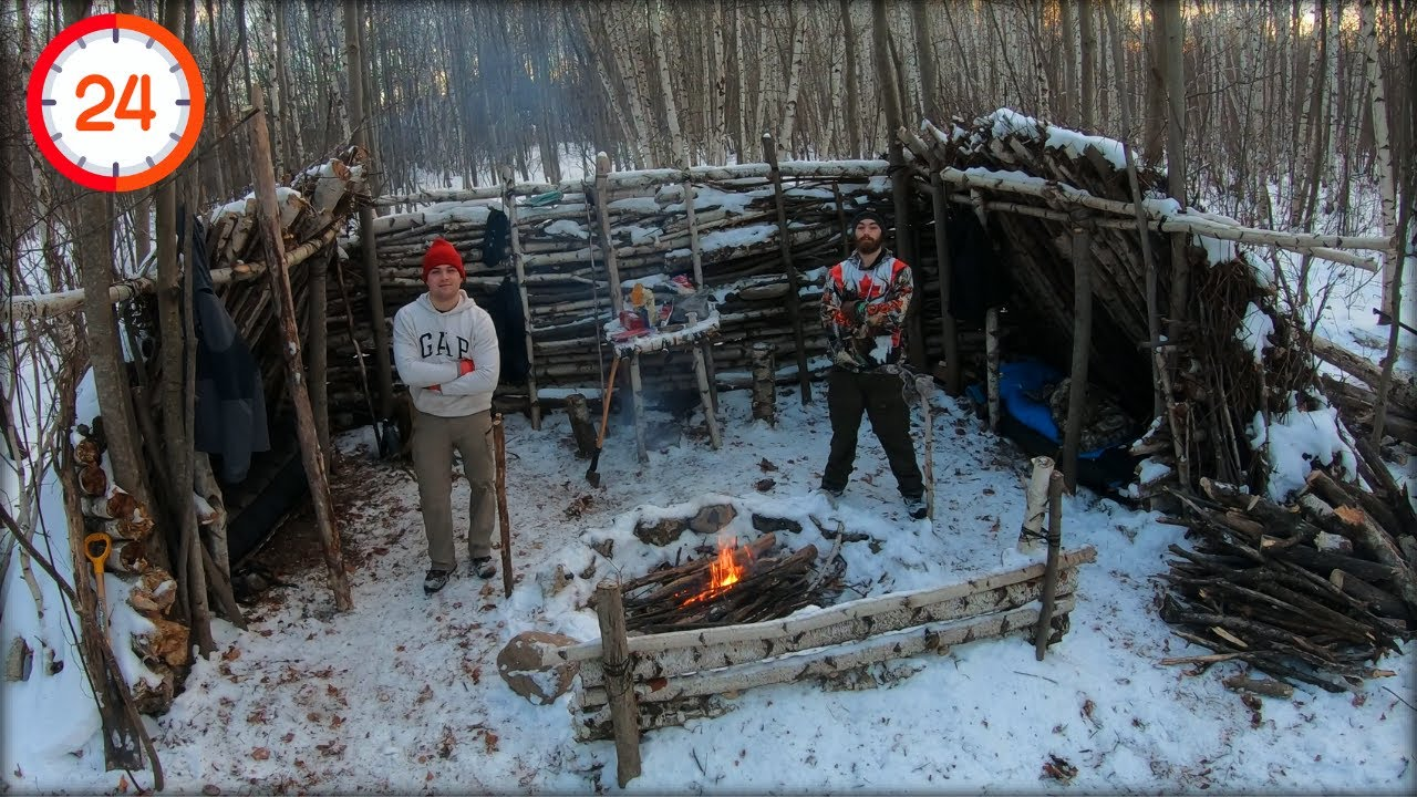 "Spending 24 Hours at TNT Camp! ""WINTER BUSHCRAFT"" (Big Shelter, Fire, Cutting Wood, Playing Chess)"