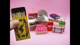 10 DIY Barbie Hacks & Craft - Match Box Bag, Table, Dresser, Book, Suitcase etc