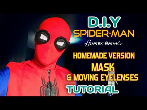 Make a Spiderman Homecoming Homemade Version Mask w/ Moving Eyelenses | Tutorial