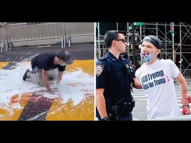 Mr LGBTrump így próbálta meg eltüntetni a BLM feliratot New Yorkban