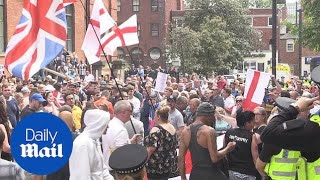 Crowds gather for Free Tommy Robinson protest in Leeds