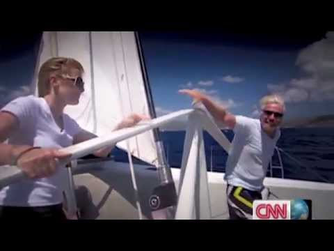 Richard Branson and Kate Winslet act out the famous 'Titanic' scene