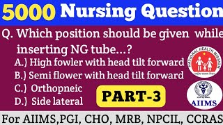 Specially For AIIMS-2000 Combine & CHO Important Nursing Questions || PART-3 || Every Question Imp.