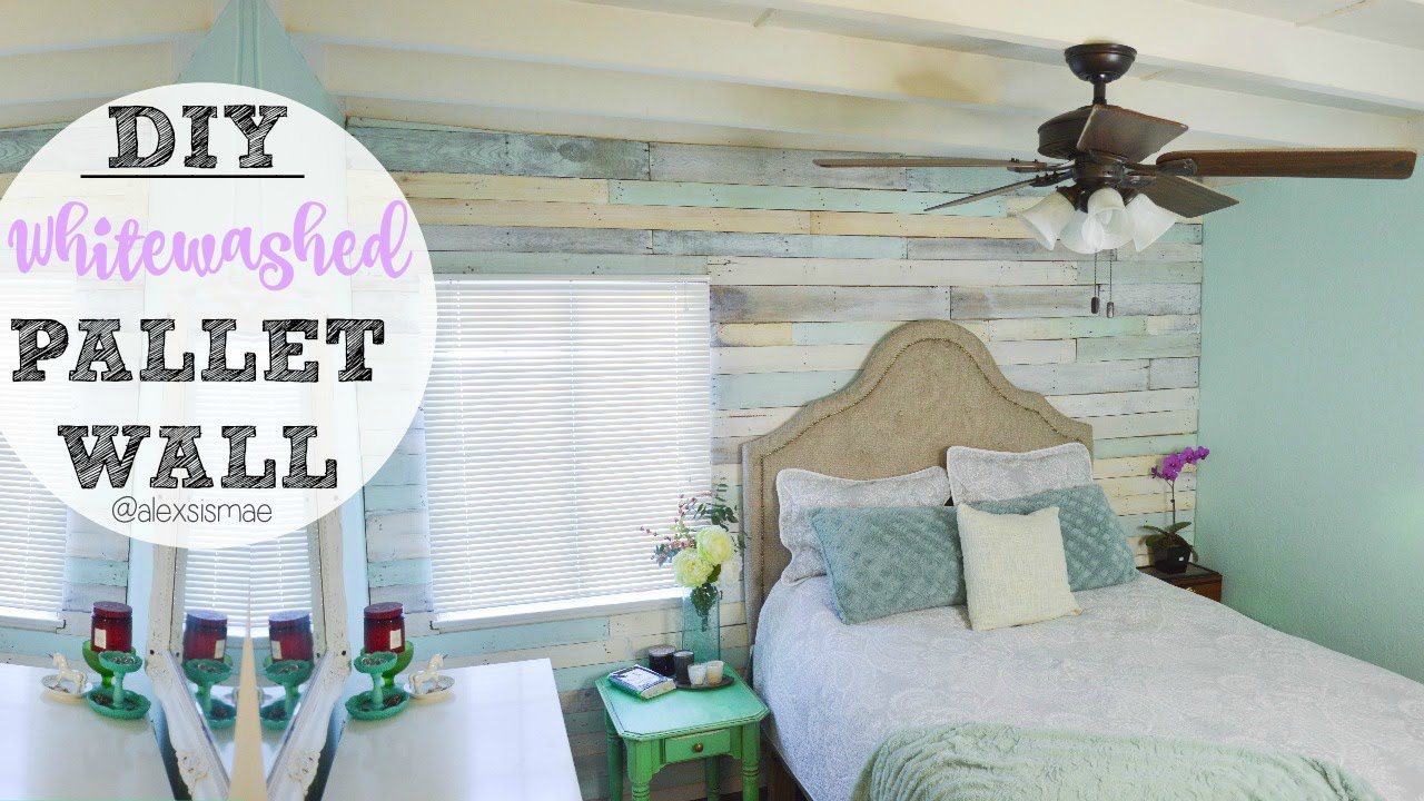 Diy Whitewashed Pallet Wall Youtube
