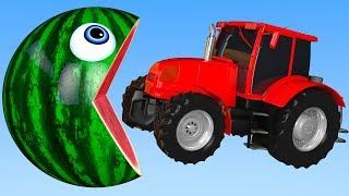 Learn Colors with PACMAN and Tractor Farm WaterMelon Street Vehicle for Kid Children
