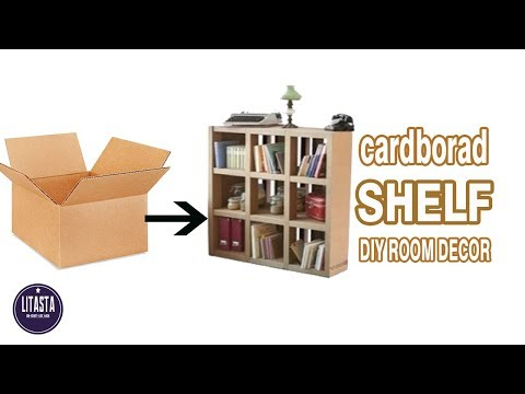 Ide kreatif membuat rak dekorasi kamar yang keren dari kardus bekas    DIY ROOM DECOR