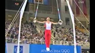 2004 アテネ 水鳥寿思 Hisashi Mizutori 体操男子団体決勝 吊り輪