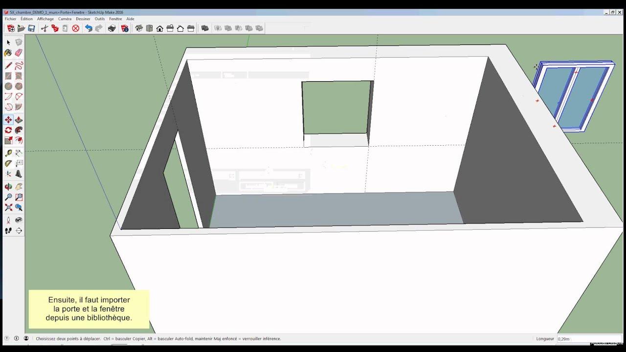 132 sketchup chambre ajouter la porte et la fen tre youtube