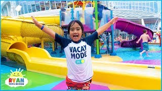 Huge Waterpark and water slides on the cruise with Ryan