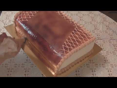 Белково Заварное украшение торта,частично мастика Торт Книга Пошагово