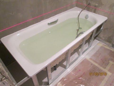 Установка+ монтаж экрана и подключение стальной ванны 1.80*80