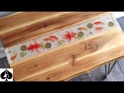 How to Make an Epoxy Resin River Table With 3D Fish Stickers - NO Painting and NO Sanding! DIY