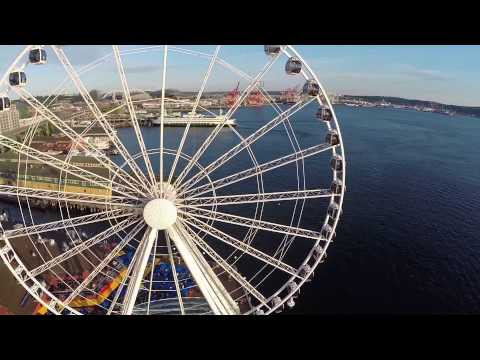Drone sunset Seattle Ferris Wheel