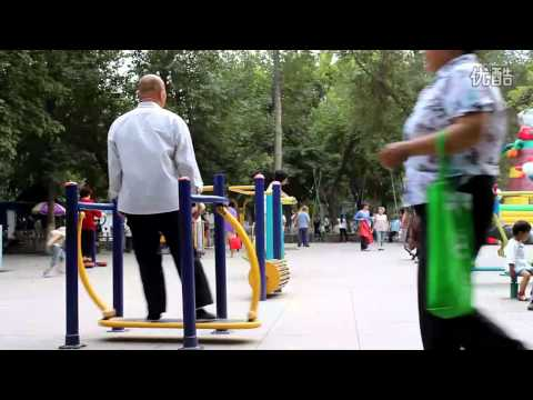 Old Man Rocks Public Exercise Equipment In China