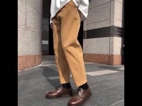 세미 와이드핏 밴딩 코튼팬츠-진베이지