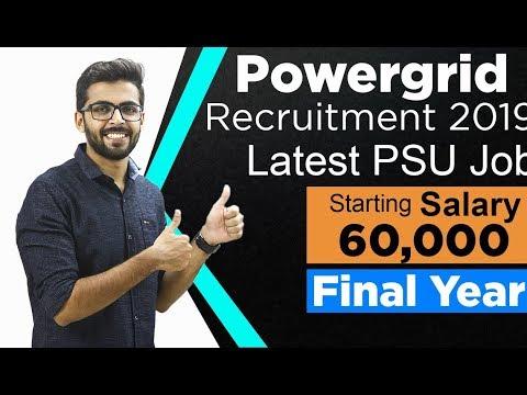 Power Grid Recruitment 2019   Starting Salary ₹60,000   Final Year can Apply   Latest PSU Job Update