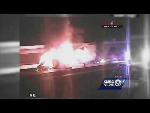 Tractor-trailer goes up in flames on I-435 in Overland Park