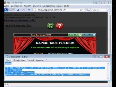 Free rapidshare account rapidshit com premium link generator