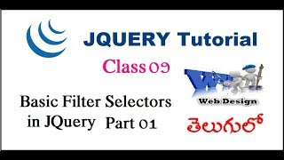 Basic filter selectors in jquery part1 Telugu-08(Basic filter selectors in jquery part1 Telugu-08 For Telugu https://www.youtube.com/watch?v=YCDWlusk_yw For English ..., 2015-10-02T00:15:19.000Z)