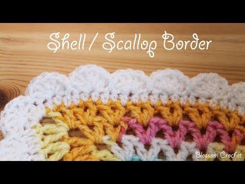 Easy Crochet Shell Scallop Border Youtube