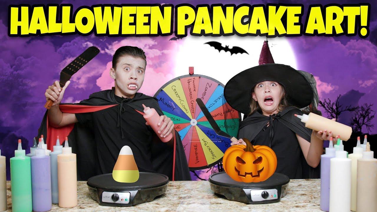 MYSTERY WHEEL OF HALLOWEEN PANCAKE ART CHALLENGE!!! Spooky Pancakes!