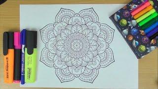 Mandala (ASMR drawing / no speaking / binaural / marker pens / anti-stress image)