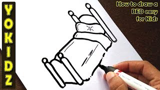 How to draw a BED easy for kids