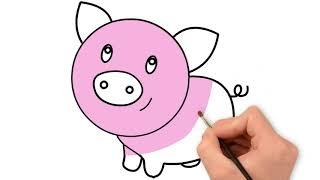 Vẽ con heo đất | Bé học màu sắc tiếng Anh với con heo
