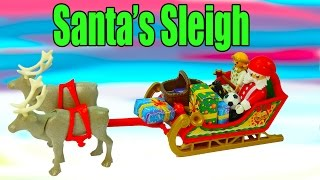 Christmas Playset Playmobil Santa's Sleigh Presents Reindeer Angel Dolls Cookieswirlc Review