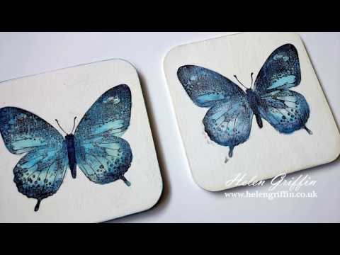 Springtime #2 Butterfly Coaster With IndigoBlu Rubber Stamp