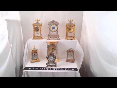 7 Antique French champleve enamel mantel clocks