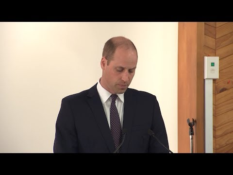 Prince William speaking inside the Al Noor mosque in Christchurch