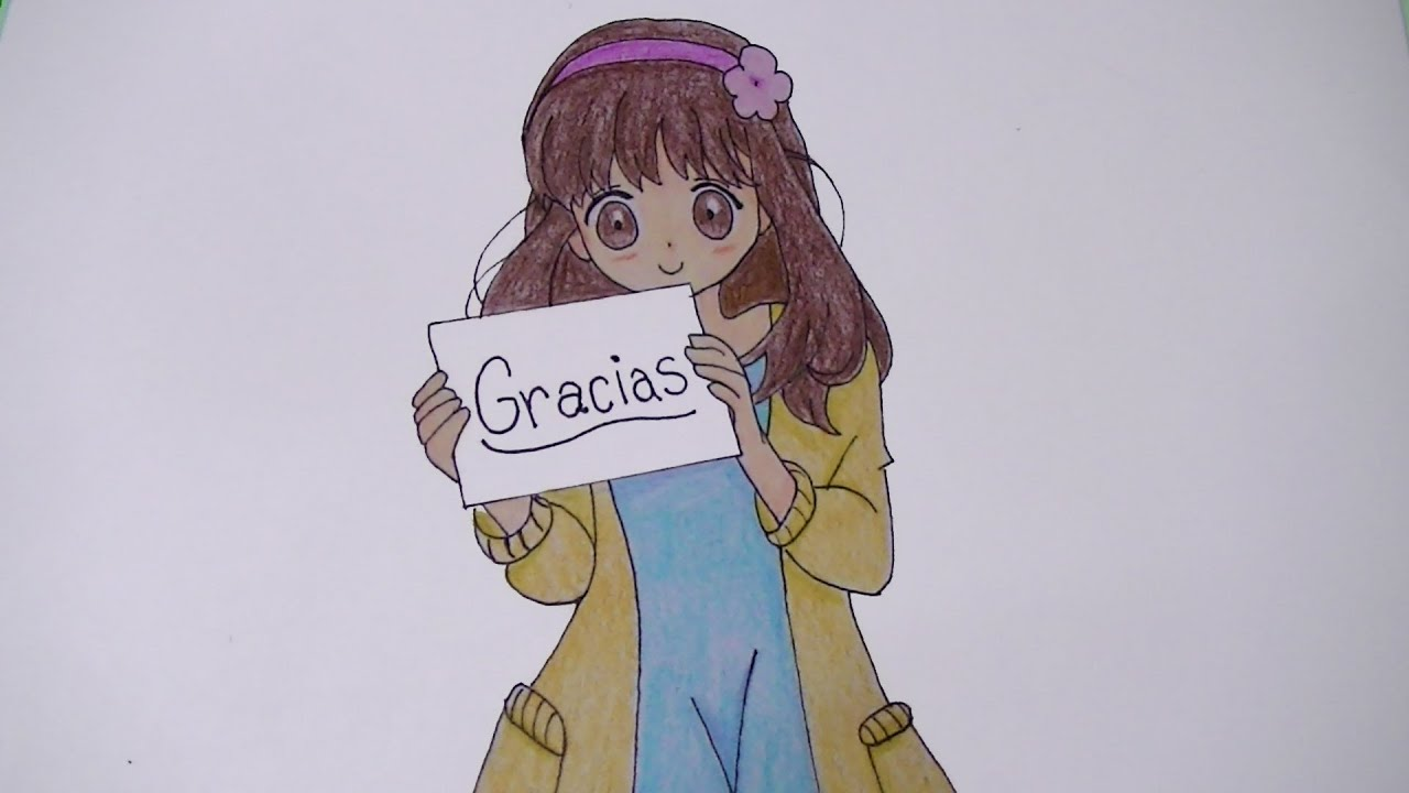 Como dibujar/pintar a chica anime con cartel de gracias - Especial ...