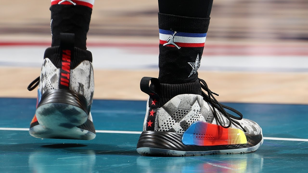 Damian Lillard Shows Off His Custom Nascar Dame5 Shoes Youtube