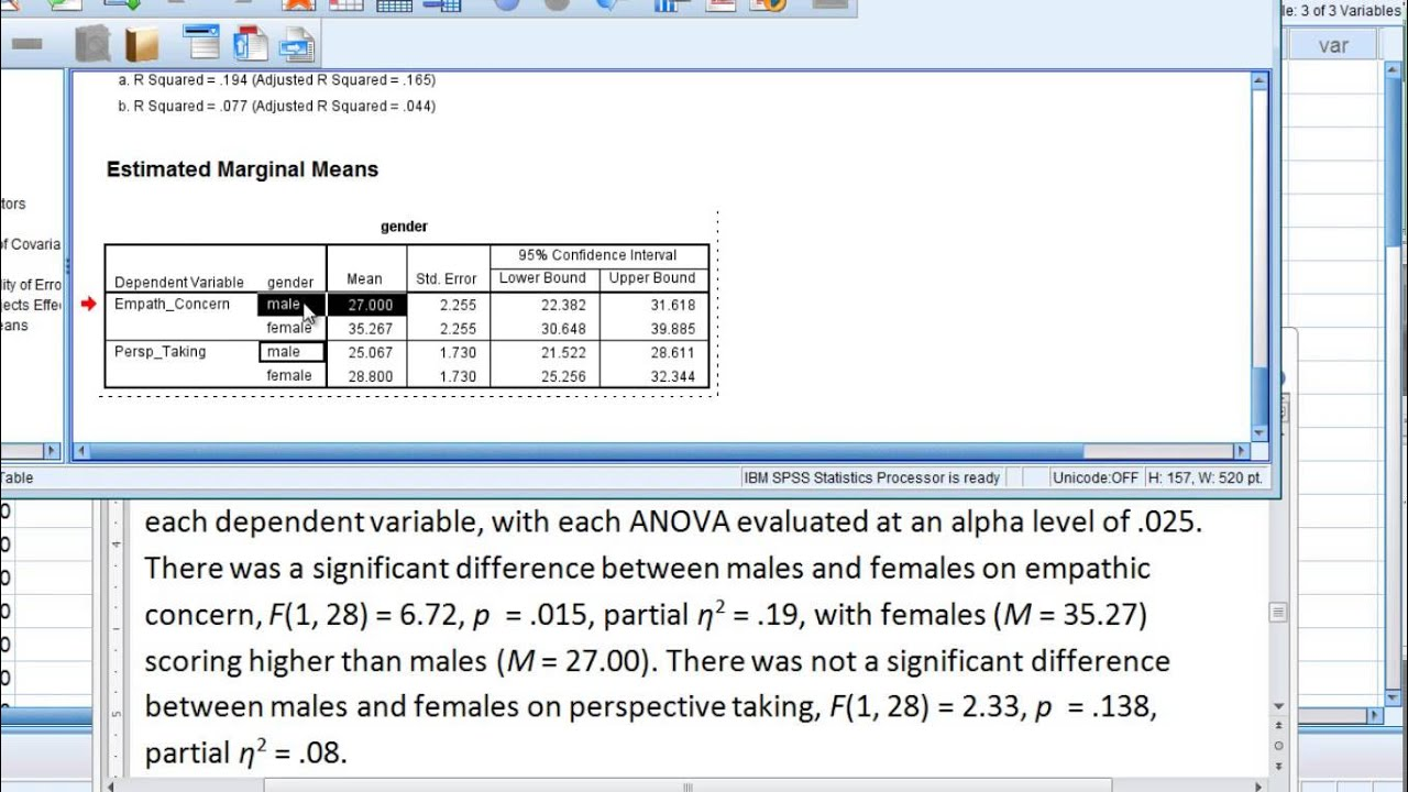 MANOVA in SPSS (Multivariate Analysis of Variance) - Part 4