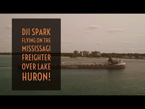 Video Drone - DJI Spark Flying on the Mississagi Freighter over Lake Huron!