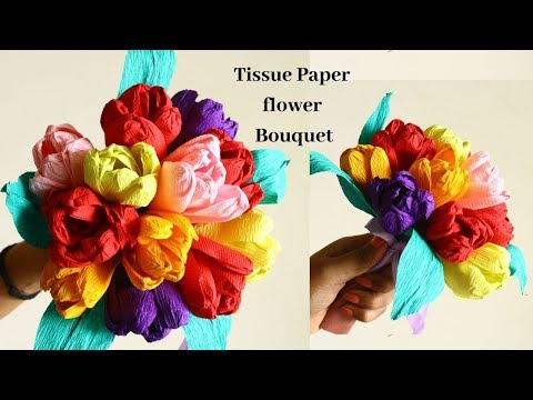 How to Make Tissue Paper Flowers !!! DIY Paper Flowers Bouquet tutorial By Aloha Crafts