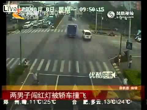 Red light scooter vs speeding car in China