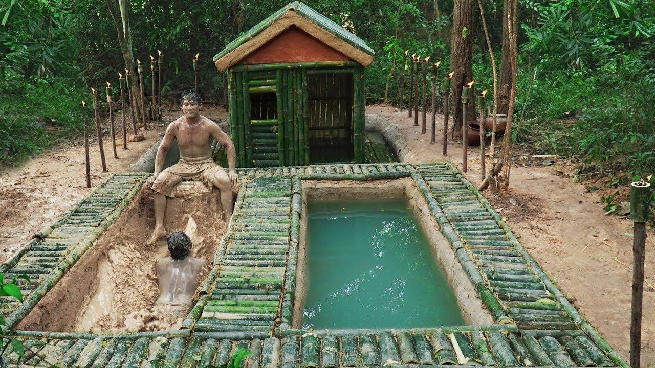 Build Bamboo House Underground Fish Pond And Underground Mud Swimming Pools