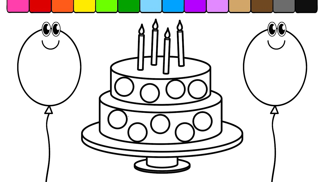 Learn Colors For Kids And Color Circle Birthday Cake Balloons Coloring Page