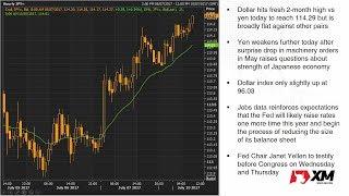 Forex News: 10/07/2017 - Dollar/yen at 2-month high on NFP jump; Gold slumps