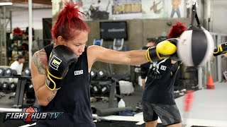 Cris Cyborg finishes workout w/double end bag as she starts weight cut for 140lbs