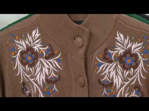 Bob Mackie's Button Front Floral Embroidered Long Cardigan on QVC