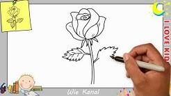 Rose zeichnen lernen einfach schritt für schritt für anfänger & kinder 3