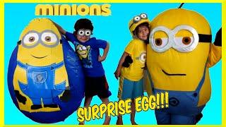 giant egg surprise minion super mega giant surprise egg minions movie worlds biggest surprise egg