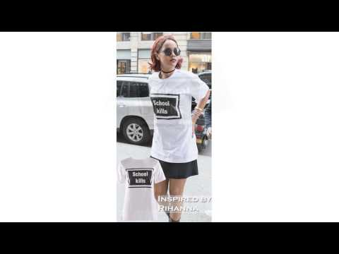 Wholesale   Women Celebrity Rihanna Inspired School Kill Printed Top White SM-ML
